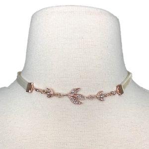 LC Lauren Conrad Crystal Leaf Choker Necklace NEW
